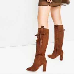 Zara brown suede knee high boots